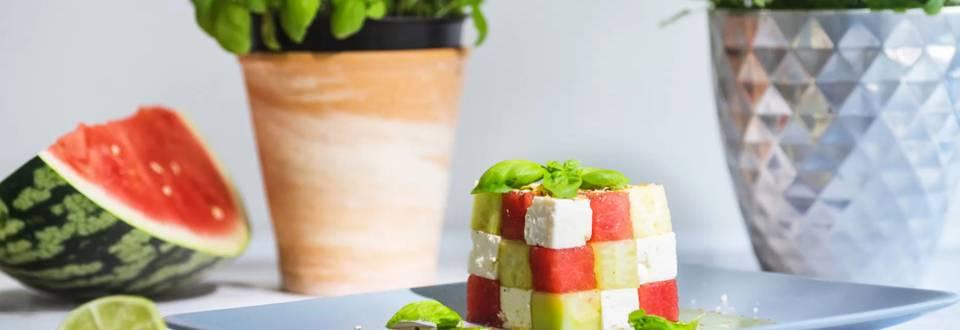 Erfrischender Melonen-Feta-Würfel